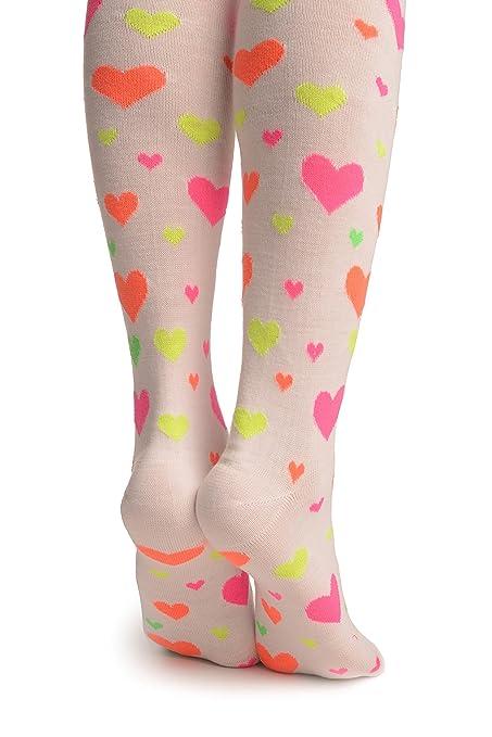 Fluorescent Yellow, Orange, Pink & Green Hearts On White - Over The Knee Socks - Blanco Calcetines hasta la rodilla Talla unica (37-42): Amazon.es: Ropa y ...