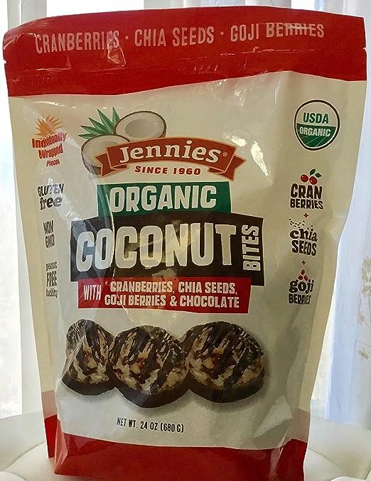 Mordeduras de coco orgánicas de Jennies con arándanos ...