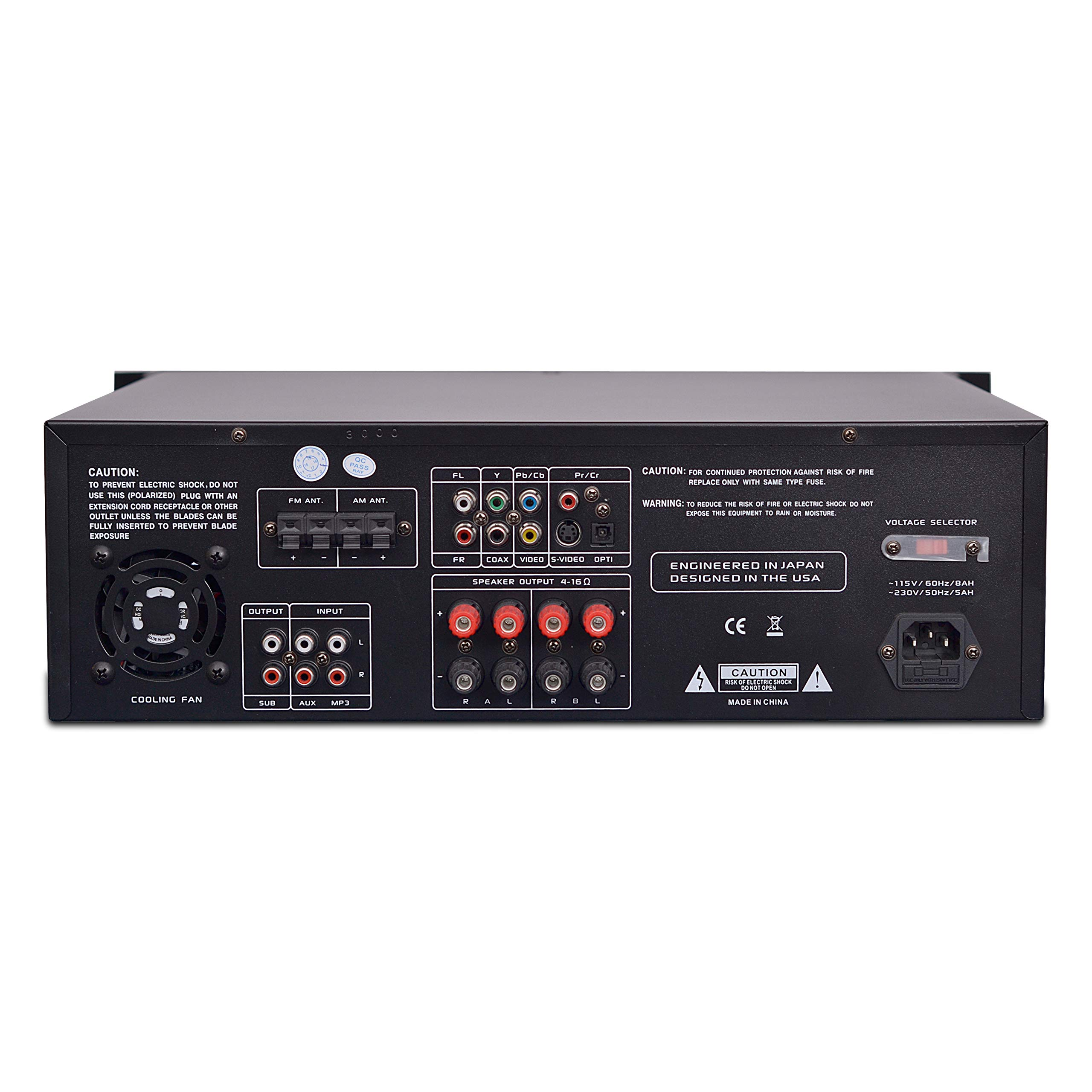 4-Channel Home Theater Bluetooth Preamplifier - 3000 Watt Stereo Speaker Home Audio Receiver Preamp w/ Radio, USB, 2 Microphone w/ Echo for Karaoke, CD DVD Player, LCD, Rack Mount - Pyle PD3000BT