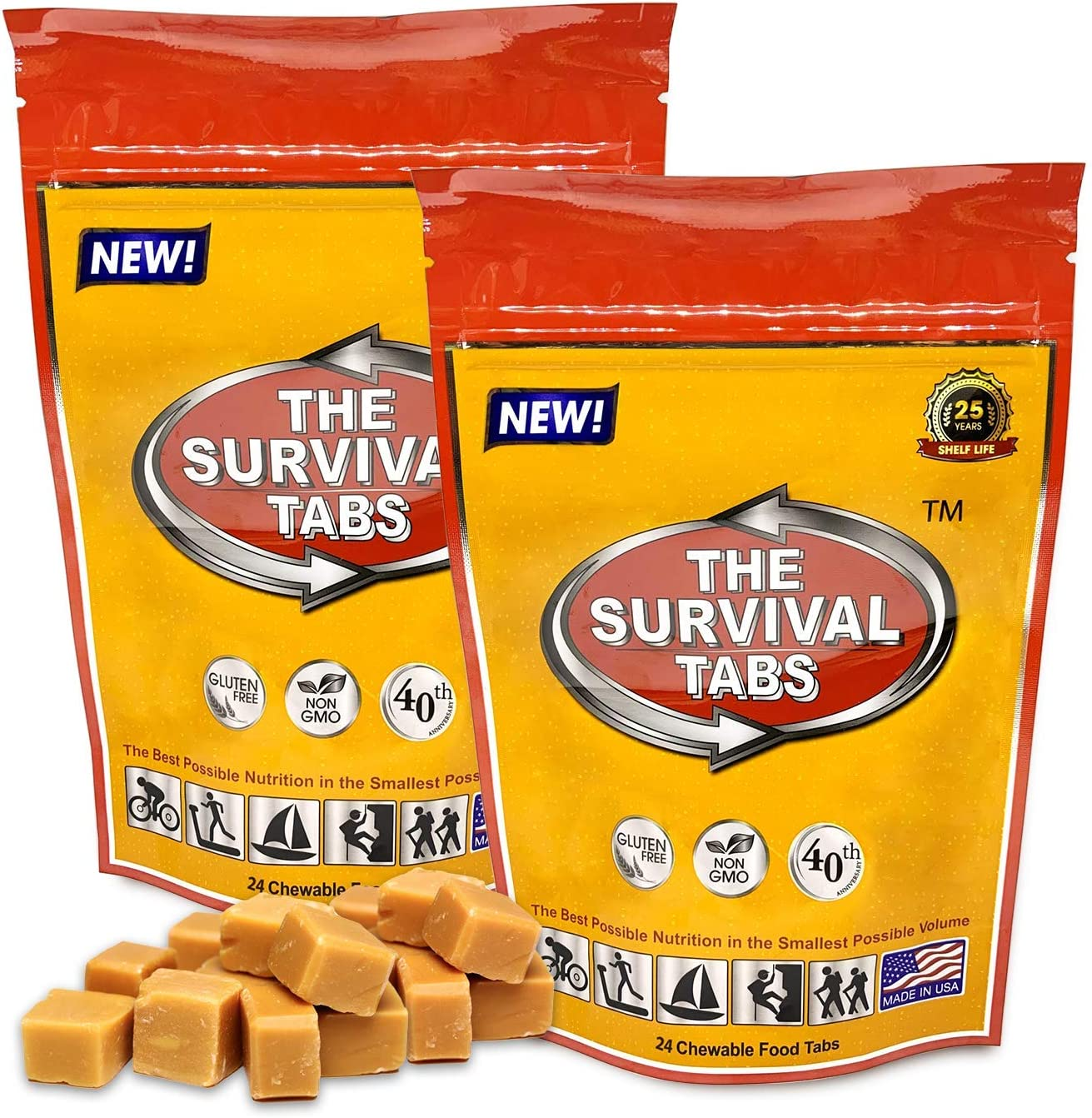 Premium emergency food 96 hours survival tablets none-GMO gluten-free 25 years shelf life (butterscotch/2 pouchs)
