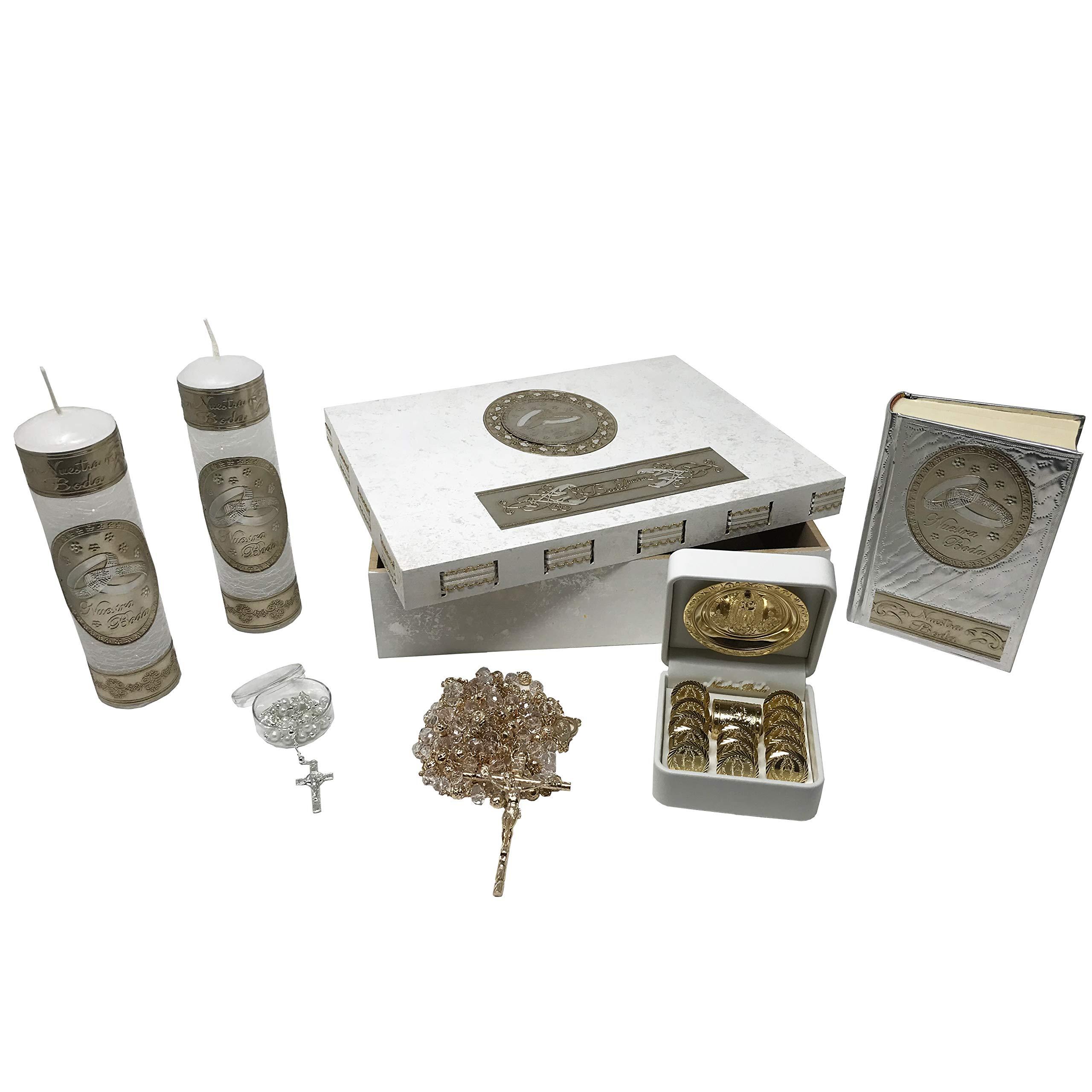 Catholic Wedding Kit in a Wooden Box with 2 Candles, Wedding Coins, Lasso Rope, Bible (Spanish) and Rosary. Kit de Boda Católico en Caja de Madera con 2 Velas, Arras, Lazo, Biblia (Español) y Rosario.