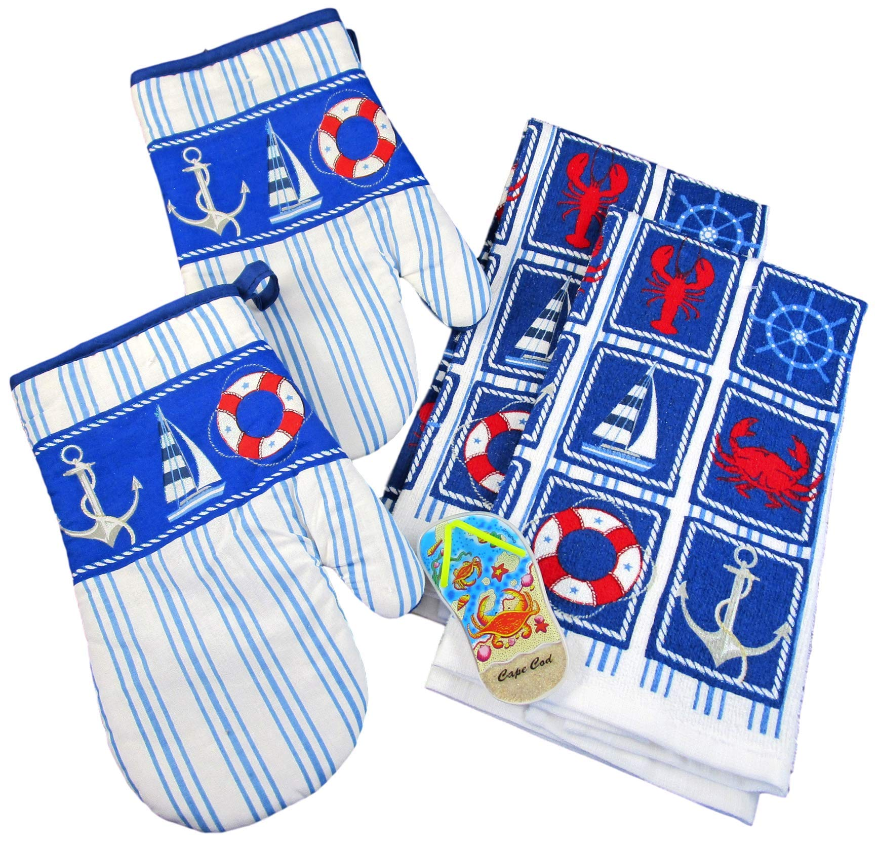 Summertime Nautical Kitchen Gift Set: 100% Cotton Dish Towels and Oven Mitts (Cape Cod Icons -Yellow Flip Flop with Crab)