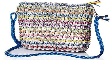0ce50af01d238 ETC recycling upcycling originelle Damentasche Clutch aus Dosenverschlüssen  in Handarbeit gefertigt (silber-bunt)