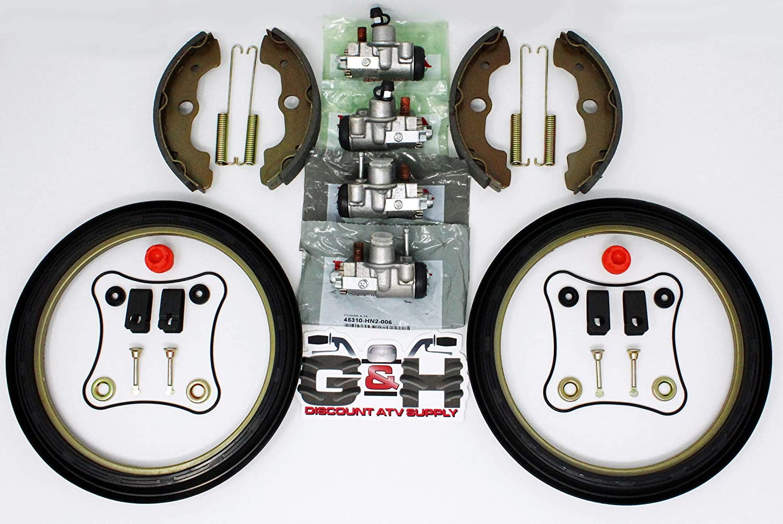 Complete FRONT Brake Rebuild KIT Includes Shoes, Wheel Cylinders, Hardware for Honda TRX 400 450 Foreman ATVs