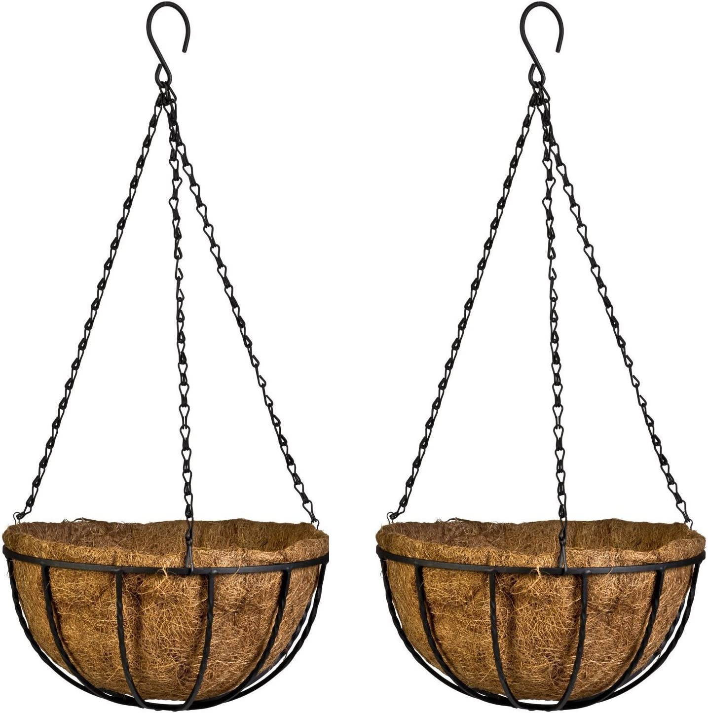 Kingbuy Hanging Basket Planter Metal with Coconut Coir Liner Wire Plant Holder with Outdoor Decorations for Porch Pots Hanger Home Garden Decoration Indoor Outdoor Watering Hanging Baskets 8inch 2PCS