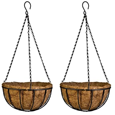 Kingbuy Black Growers Hanging Basket Planter with Chain Flower Plant Pot Home Garden Balcony Decoration-10inch (set of 2) …