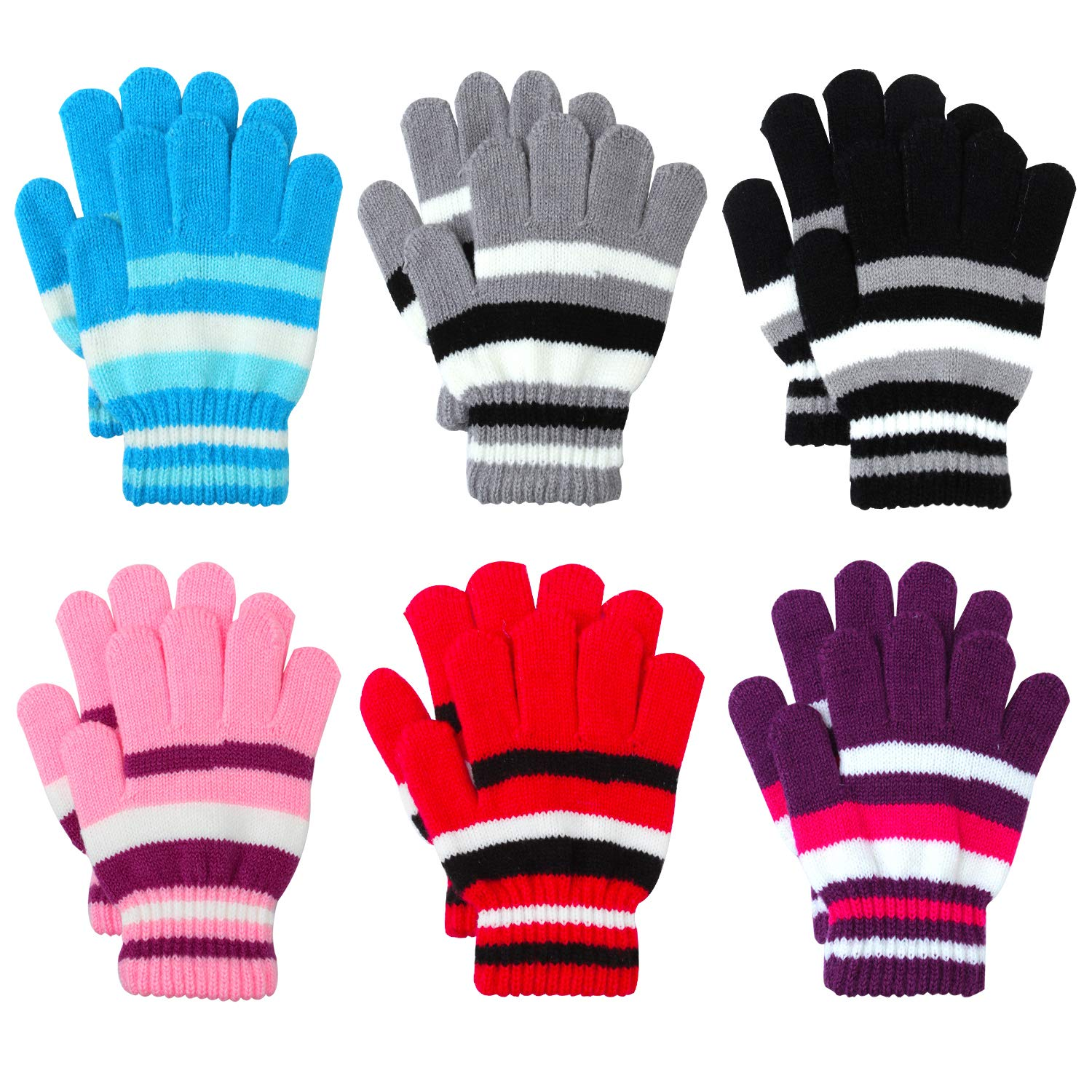 Coobey 6 Pairs Children Warm Stretch Gloves Winter Knitted Stripe Magic Gloves for Boys or Girls Black)