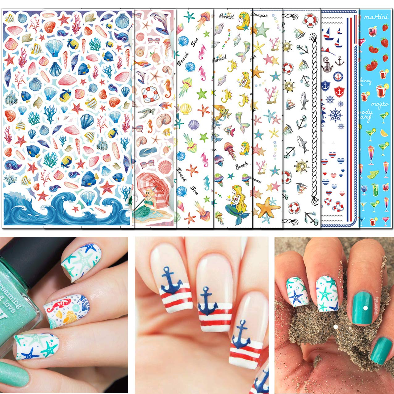 TailaiMei Summer Nail Decals Stickers, 1500+ Pcs Self-Adhesive Tips DIY Nail Art Design Stencil (8 Large Sheets)