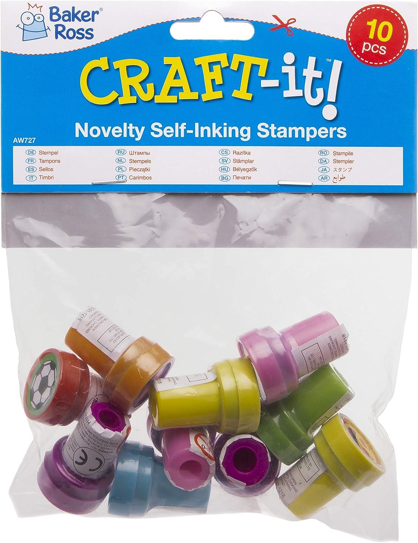 lot de 10 Ensemble de tampons que les enfants pourront utiliser lors de leurs loisirs cr/éatifs. Baker Ross Tampons fantaisie avec encre int/égr/ée