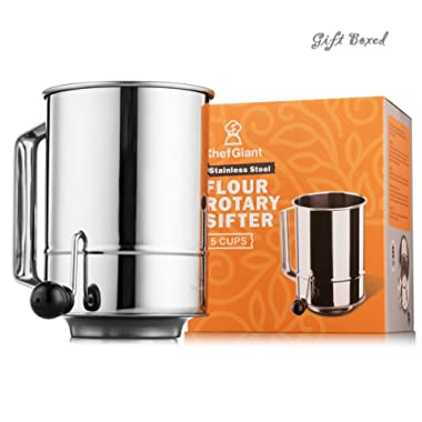 Flour Sifter 5 Cup Stainless Steel Rotary Hand Crank, Baking Sugar Sifter with 16 Fine Mesh Screen, Corrosion Resistant - Bake & Decorate Cakes, Pies, Pastries, Cupcakes