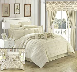 Chic Home Hailee 24 Piece Comforter Complete Bed in a Bag Sheet Set and Window Treatment, King, Beige
