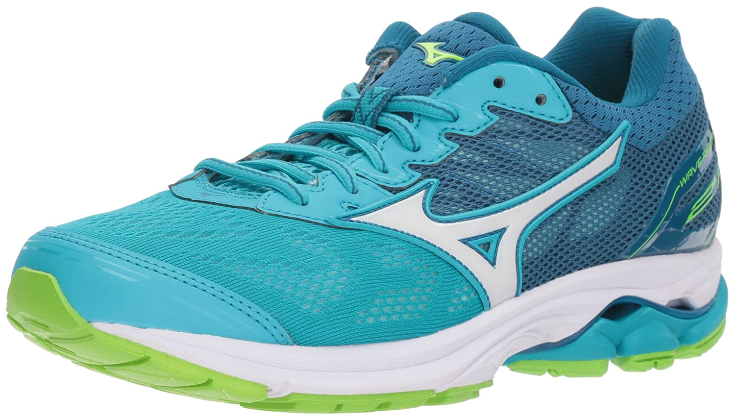 Mizuno Women's Wave Rider 21 Running Shoe B06WWHFBWH 10 B(M) US|Peacock Blue/White