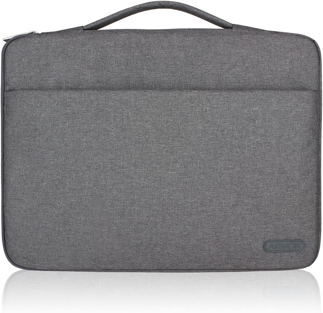 Arvok 13 13.3 14 Inch Water-resistant Canvas Fabric Laptop Sleeve With Handle & Zipper Pocket/Notebook Computer Case/Ultrabook Tablet Briefcase Carrying Bag For Acer/Asus/Dell/Lenovo/HP/Samsung (Gray)