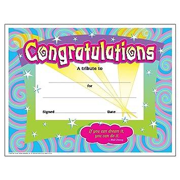 AmazonCom  Trend Enterprises CongratulationsSwirls Certificate