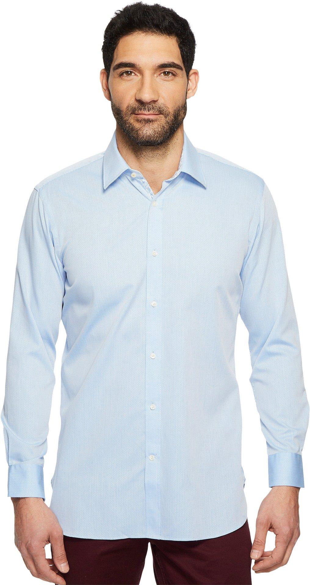 Ted Baker Men's oaker Textured Solid Dress Shirt Blue 17.5-34/35
