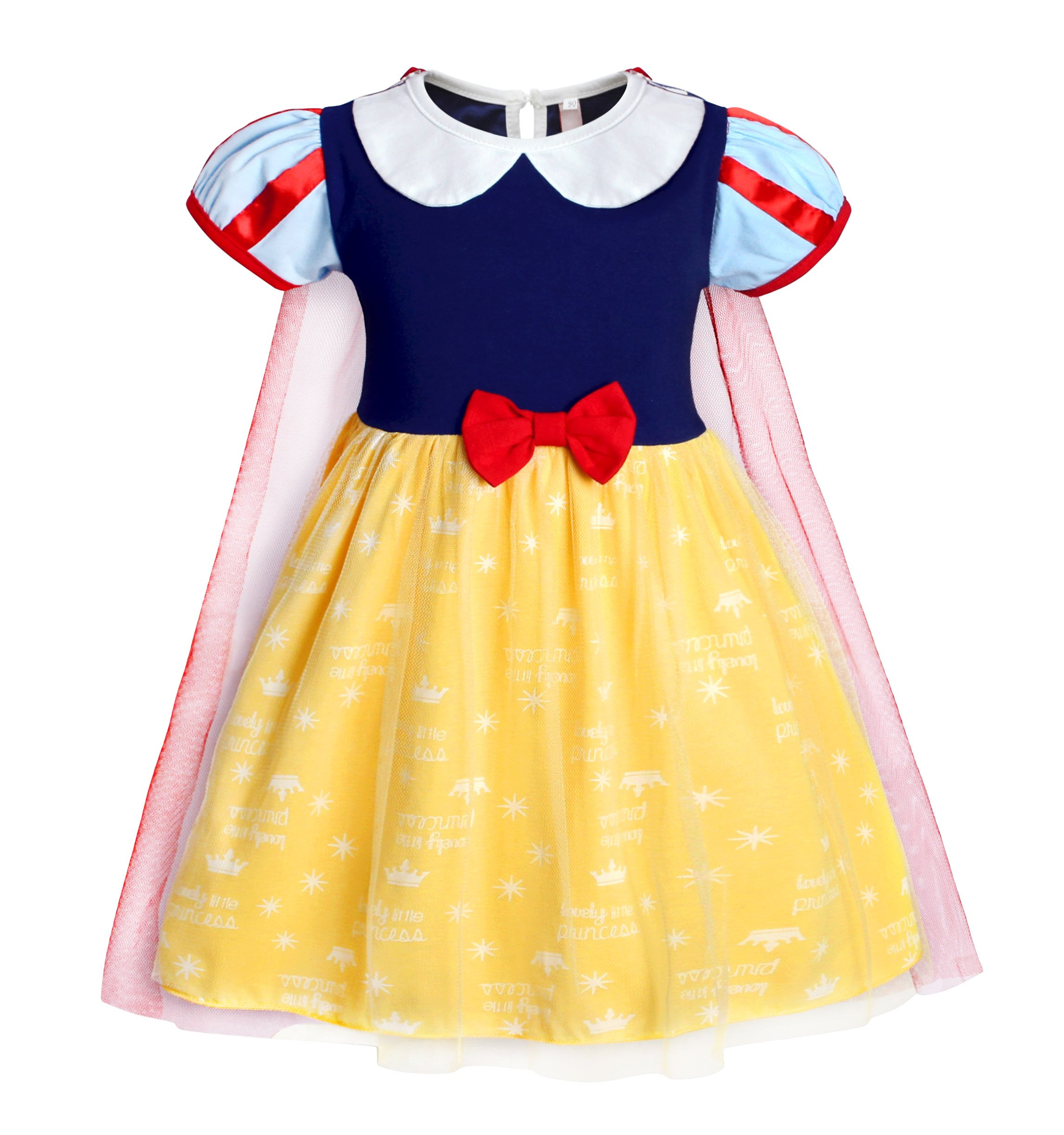Jurebecia Baby Girls Snow White Dress Princess Dress up Toddler Nightgowns with Tulle Cape Size 2T