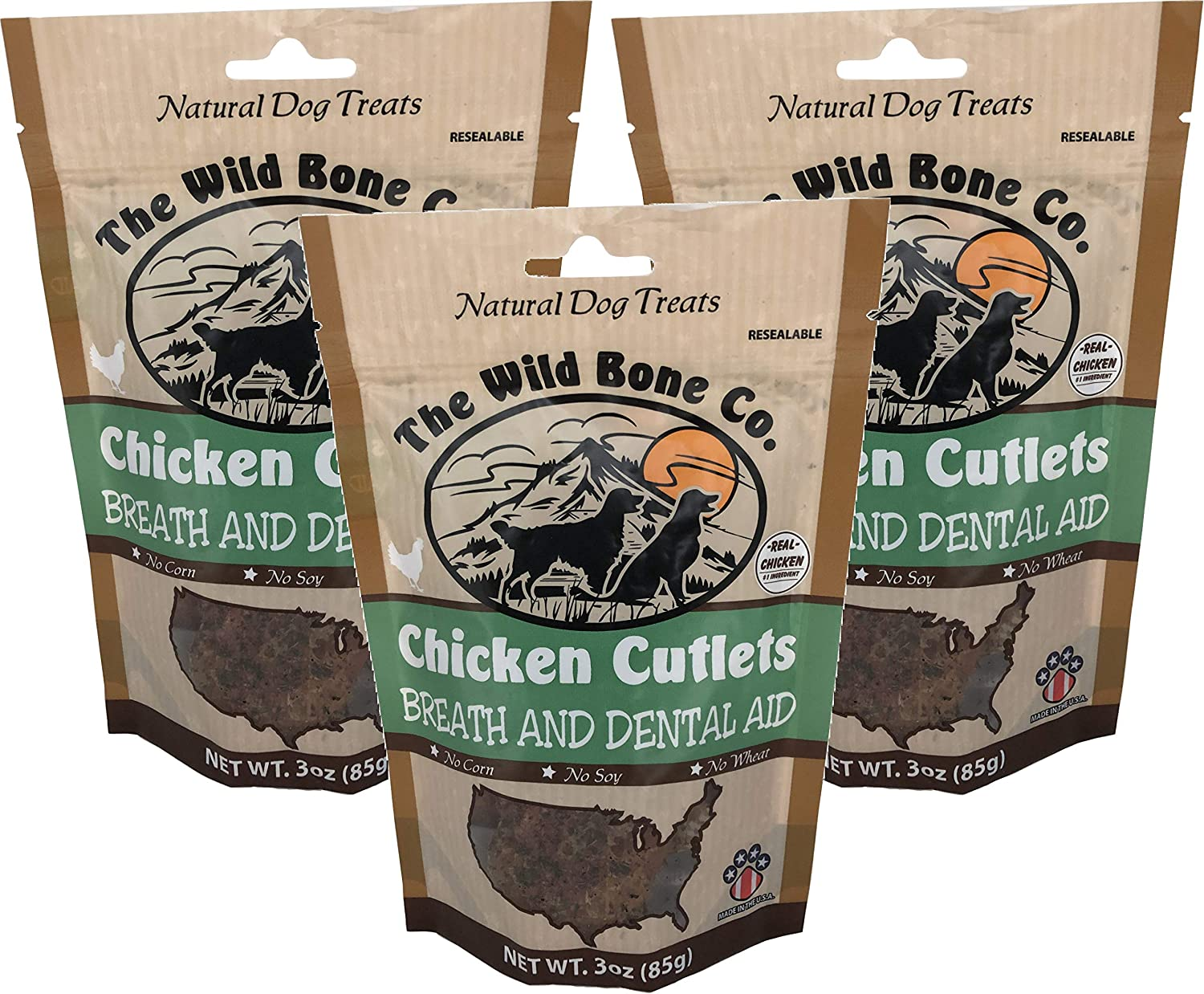 Wild Bone Company 3 Pack of Chicken Cutlets Breath and Dental Aid Dog Treats, 3 Ounces Each, Made in The USA