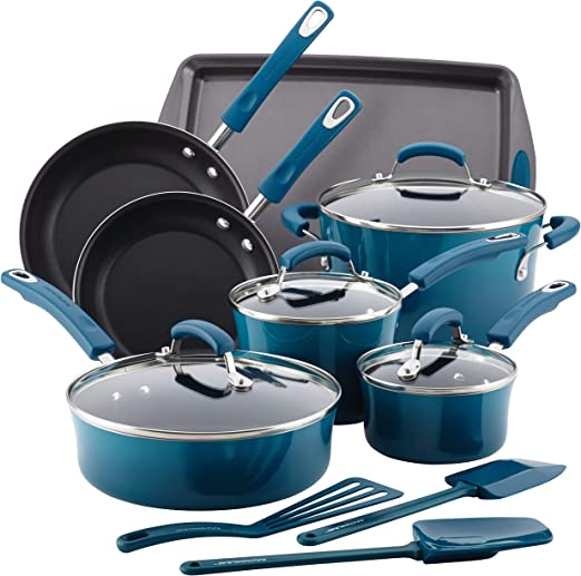 Rachael Ray B01B55SI9I Brights 14-piece Nonstick Cookware Pots and Pans Set