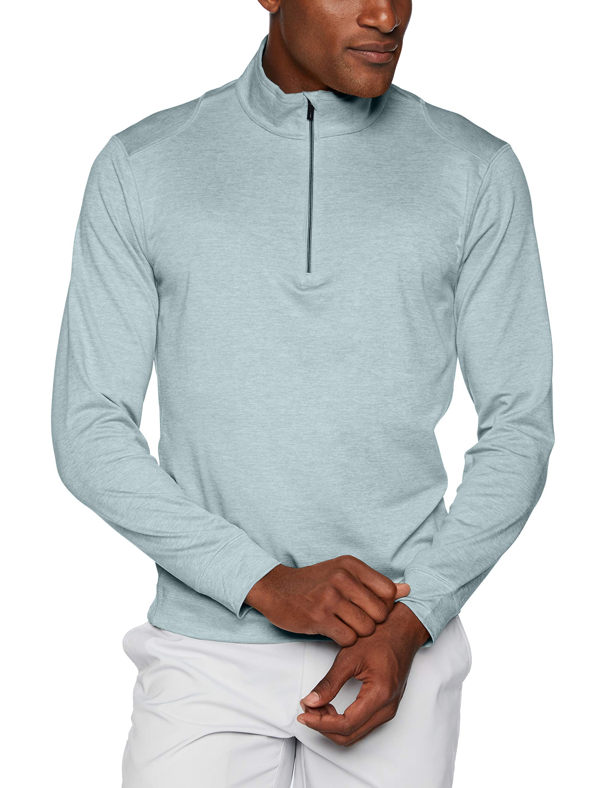 Greg Norman Men's Break Heather Long Sleeve 1/4-Zip Mock, Blue Haze Heather, Medium by Greg Norman