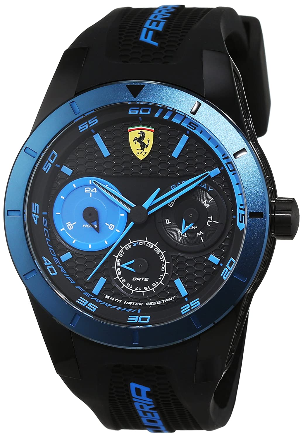 Amazon.com: Ferrari Red Rev T Multifunction Black Dial Mens Watch 830256: Watches