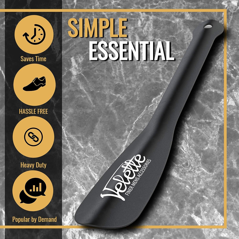 11.5 Long Black Shoe Horn for Men Seniors and Women by Velette 2 Pack Metal Shoe Horn Long Handle