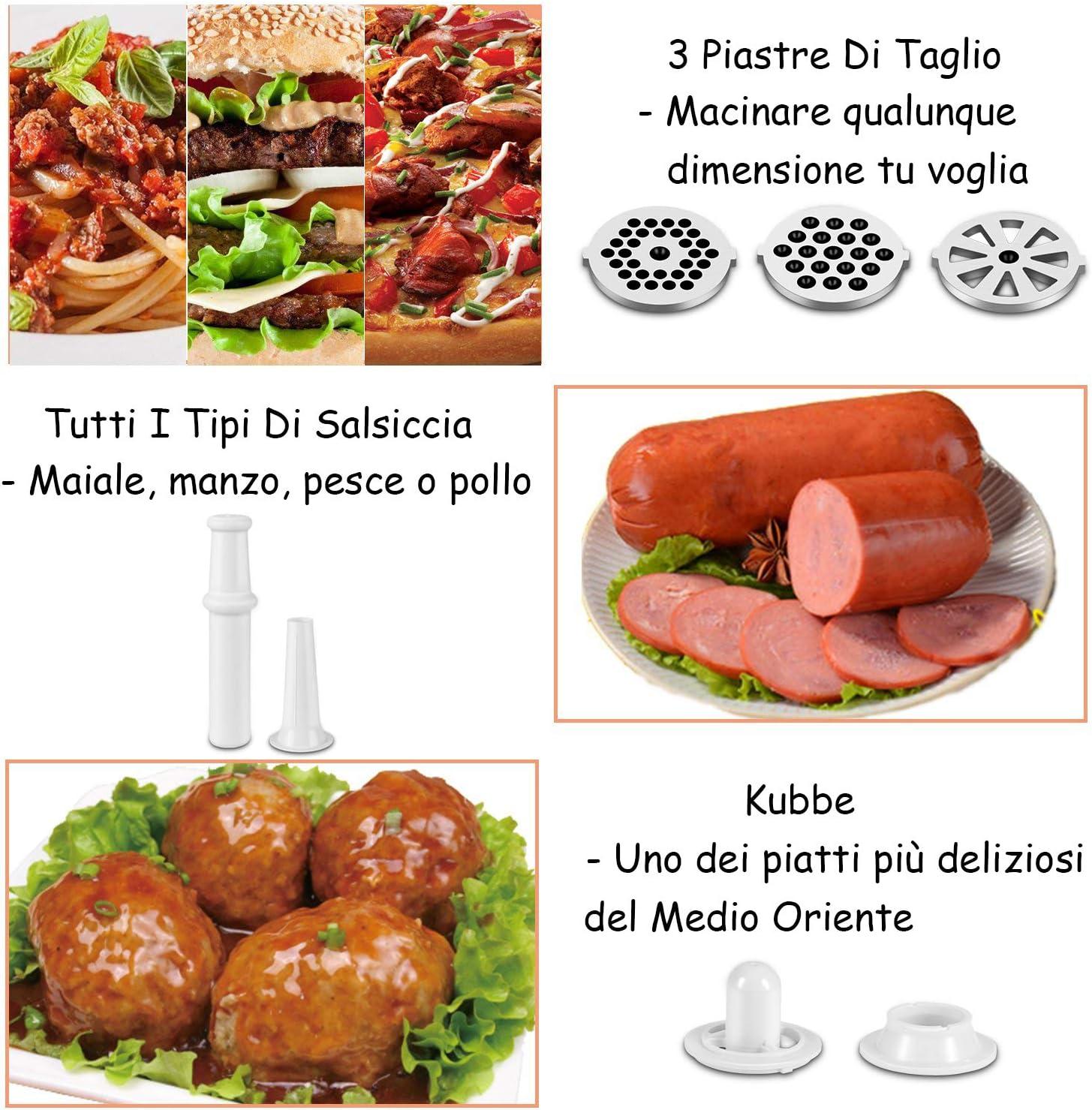 Nestling/® Tritacarne Elettrico 3 Diverso accessori per il taglio,attacco per salsiccia e kubbe,Tritacarne per carne 400W Acciaio Inox per macinazione rapida Grigio
