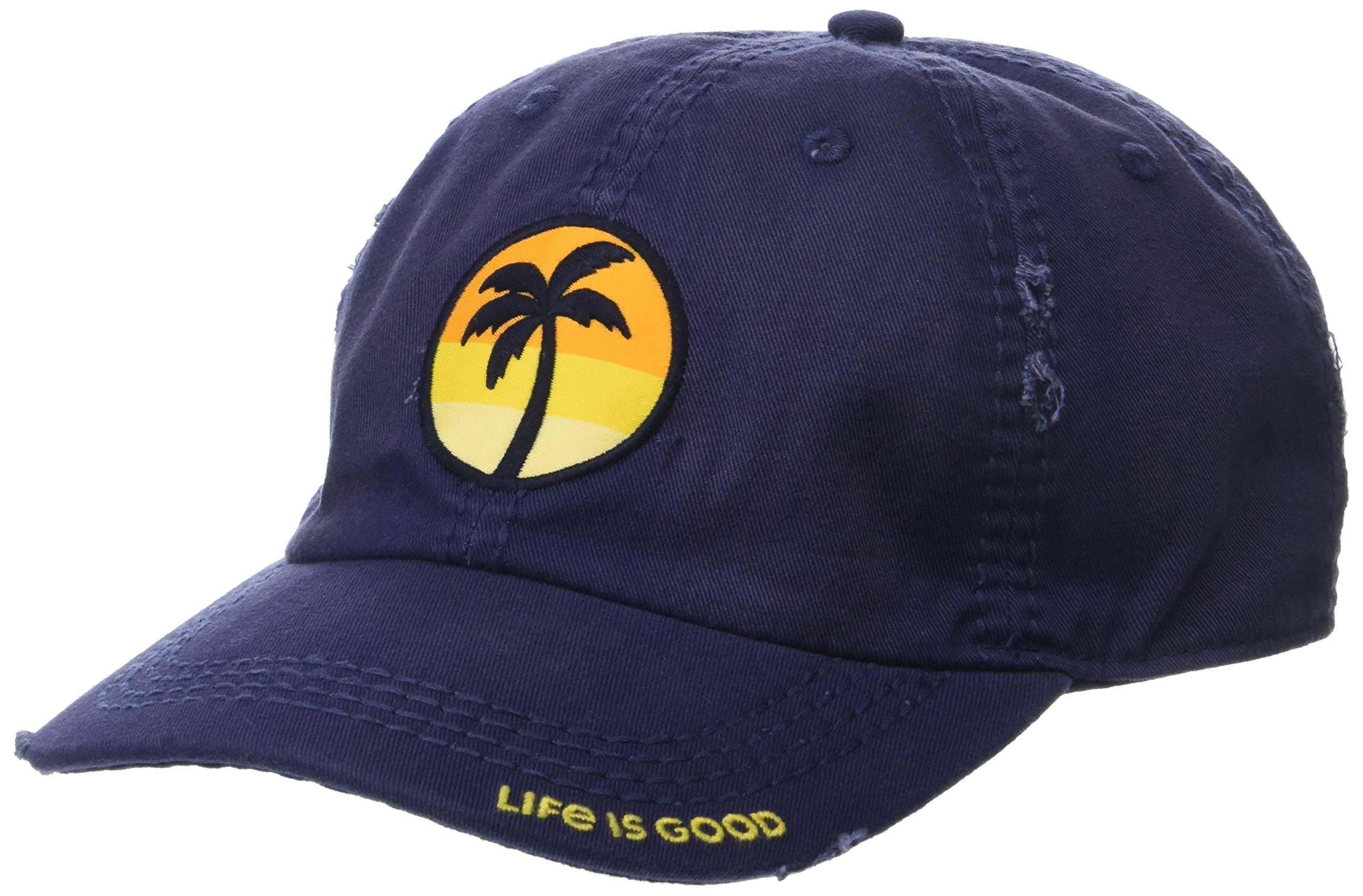 Life is Good Sunwashed Chill Cap Sunset Palm, Darkest Blue, One Size