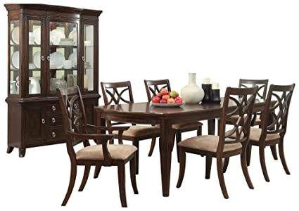 Keiber Art Deco Asian 8PC Dining Set Table, 2 Arm, 4 Chair, Buffet