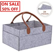 Outlet Deals! On Sale! Baby Diaper Caddy Storage Organizer, Odor-Free Eco Felt - Large Portable Car Travel Organizer