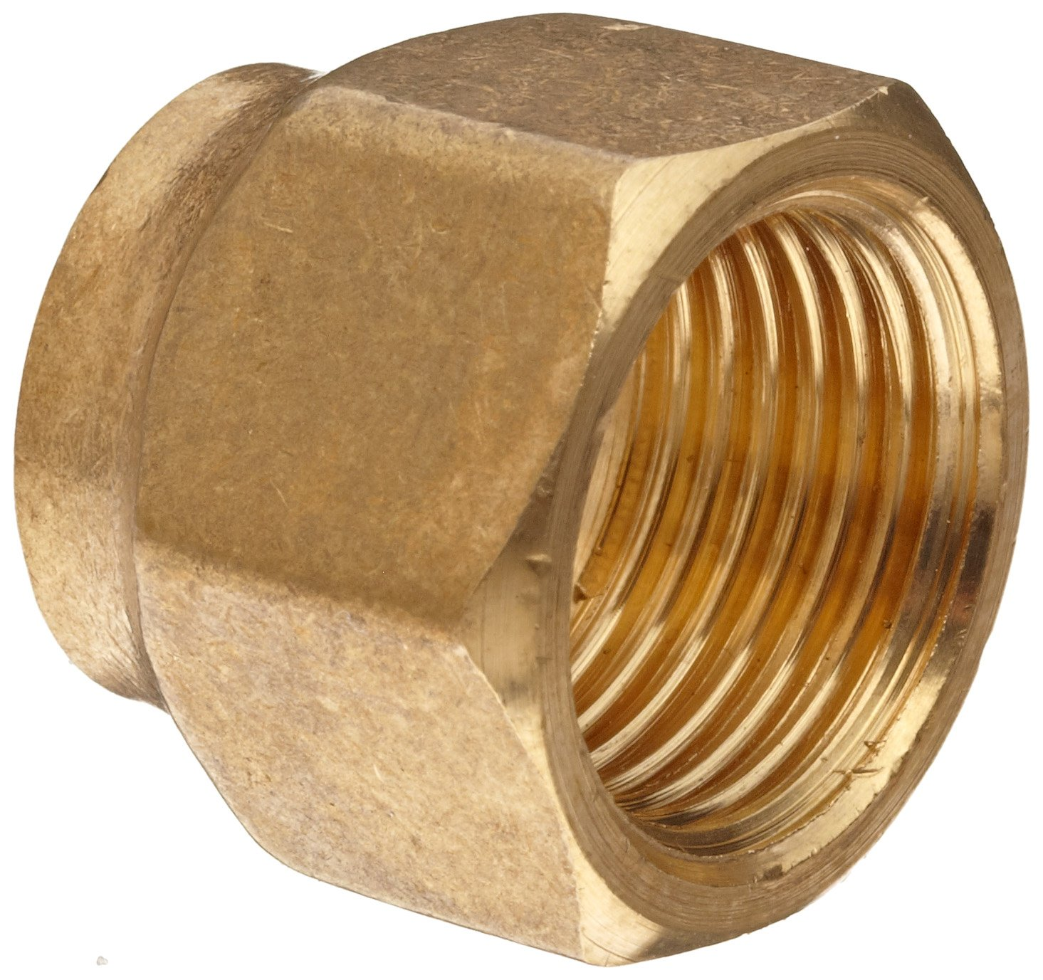 """Anderson Metals Brass Tube Fitting, Short Forged Flare Nut, 3/8"""" Tube OD"""