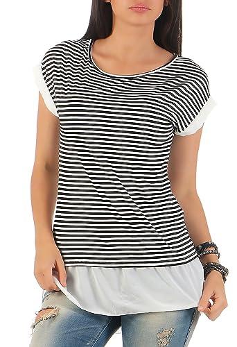 malito la Camisa con plegada Mangas y Chifon 8350 Mujer Talla Única