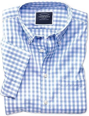 Camisa Azul Celeste de Popelina a Cuadros Vichy Slim fit sin Plancha de Manga Corta con Cuello con Botones: Amazon.es: Ropa y accesorios