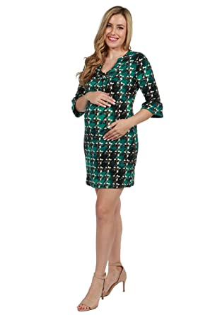 c3d92177f13ba 24Seven Comfort Apparel Brooklyn Emerald Green 3 4 Sleeve Maternity Dress  Medium Multicolor
