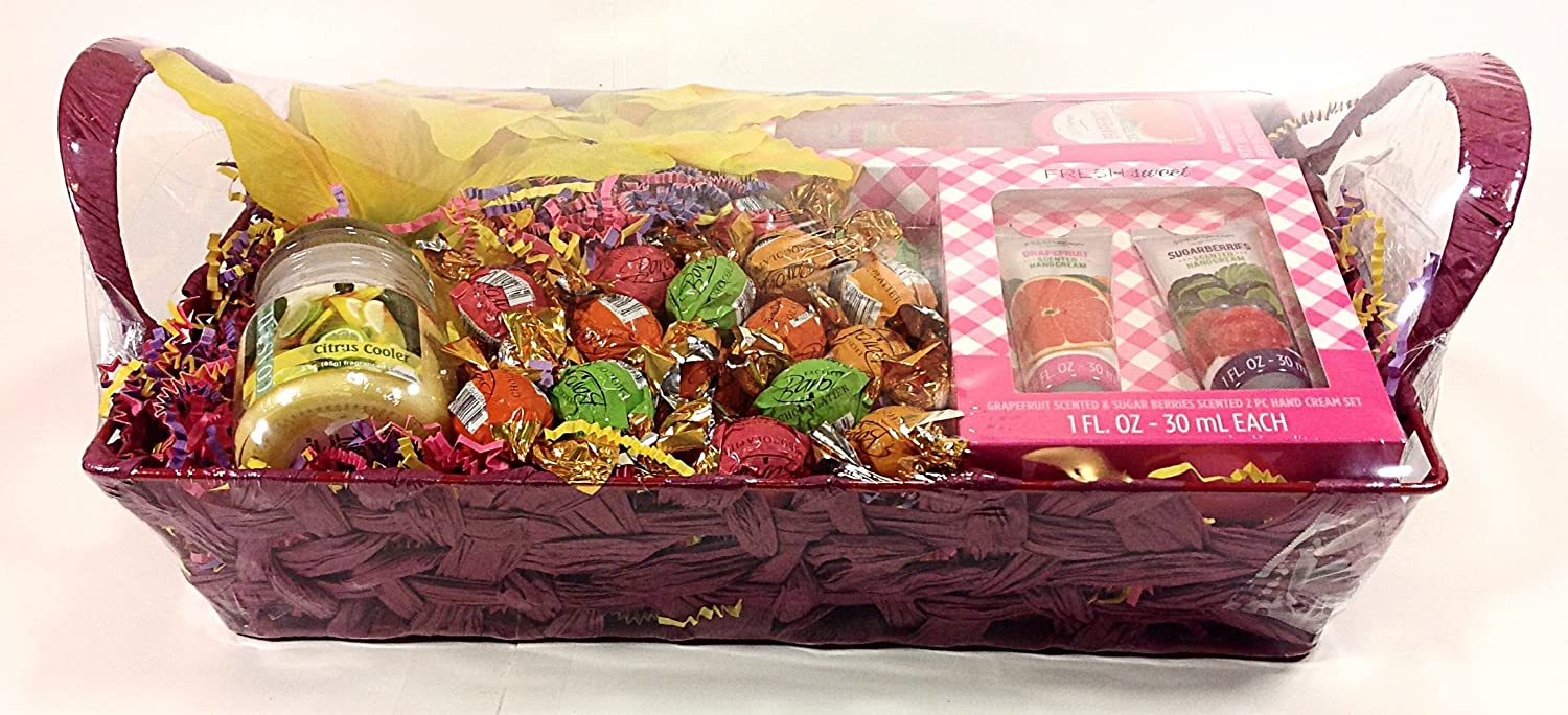 Amazon.com : Mothers Day Baron Chocolatier Gourmet Gift Basket - Truffles Chocolate Candy, Flowers, Candle, Hand Creams, Body Butter & Shower Gel : Grocery ...