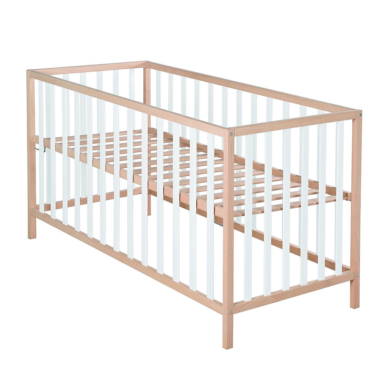 roba Kinderbett 'Cosi', 60x120 cm, Babybett Bio Buche Massivholz natur/weiß, Gitterbett 3-fach höhenverstellbar