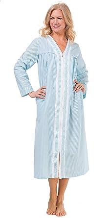KayAnna Terry-Trimmed Long Zip Seersucker Robe in Aqua Stripe (Aqua Stripe 03141face