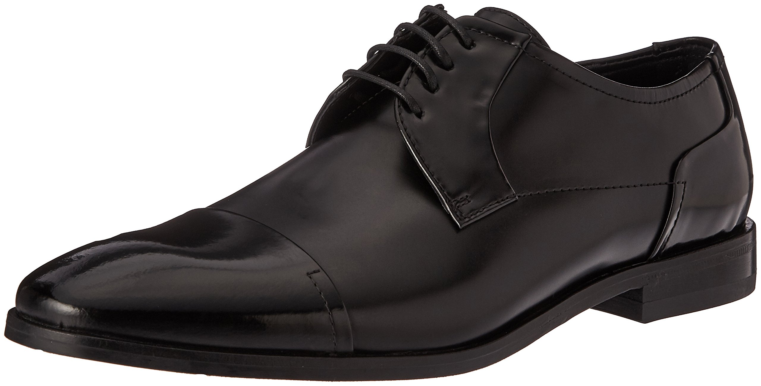 HUGO by Hugo Boss Men's Square Business Matte Leather Lace up Derby Work Shoe, Black, 7 N US