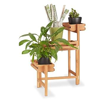 Relaxdays 10022928 Étagère pour Plantes en Bois Support Pot de ...
