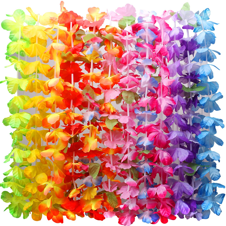 Myamy 36 counts hawaiian leis necklace tropical luau hawaii silk myamy 36 counts hawaiian leis necklace tropical luau hawaii silk flower lei theme party favors wreaths headbands holiday wedding beach birthday decorations izmirmasajfo