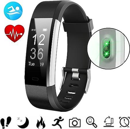 PluieSoleil Pulsera Inteligente Fitness Track IP67 con Monitor de Ritmo Cardíaco, Podómetro, Sueño, Contador de Calorías, para iOS 7.1 o Superior y ...