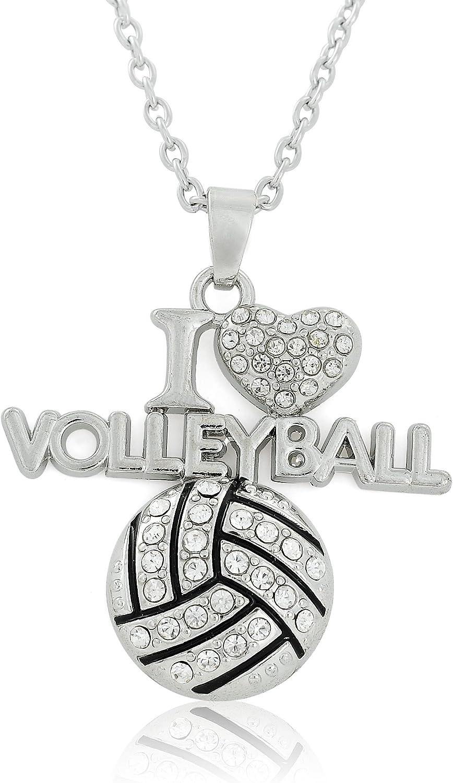 Lemegeton Collar con Colgante de Cristal de Voleibol I Love para fan/áticos Deportivos
