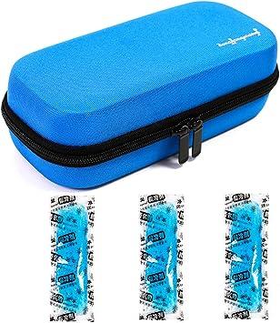 Vianber Enfriador portátil de insulina con pantalla de temperatura Suministros médicos impermeables duros de EVA para el diabético con 3 bolsas de hielo (Azul): Amazon.es: Salud y cuidado personal