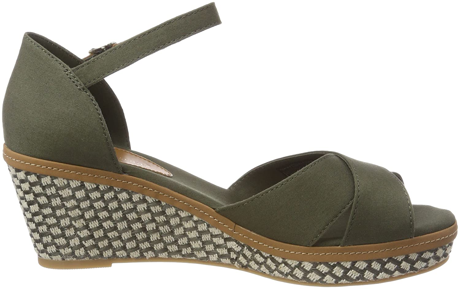 65dda68919b2f Tommy Hilfiger Women s s Iconic Elba Sandal Basic Ankle Strap Green   Amazon.co.uk  Shoes   Bags