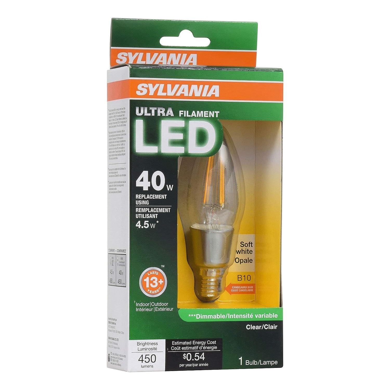 Sylvania フィラメント LED 40W 燭台ベース 調光可能 ソフトホワイト 2700K 電球 (12個パック) B07H3728F1