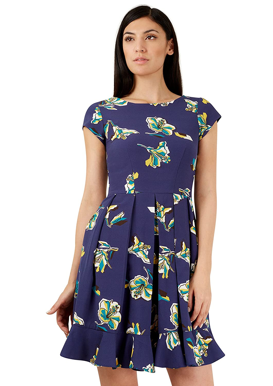 Navy Blue Graphic Floral V Back Frill Hem Dress