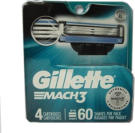 Gillette mach-3 Cartridge – Pack de 4: Amazon.es: Salud y cuidado ...