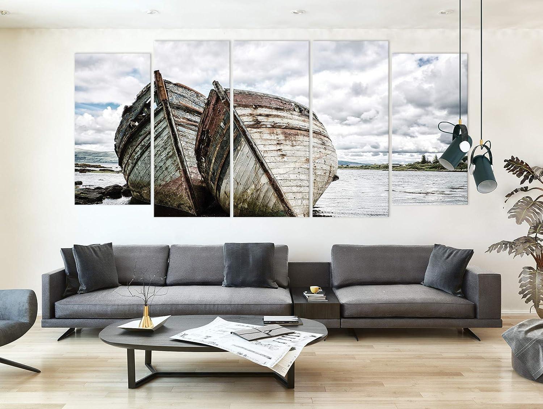 Decoracion de Pared Tipo A Cuadro en Lienzo XXL Revolio 5 Partes Tama/ño: 250 x 120 cm Barco Agua Blanco impresi/ón art/ística