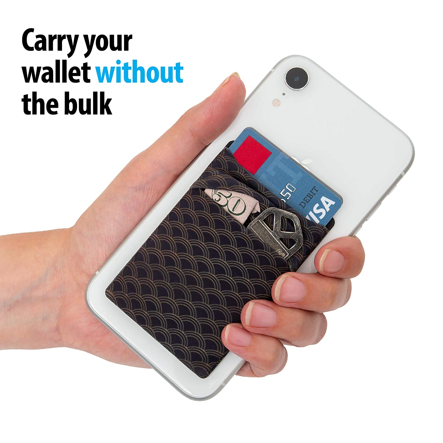 Two Android and All Smartphones Stretchy Cell Phone Stick on Wallet Card Holder Phone Pocket for iPhone
