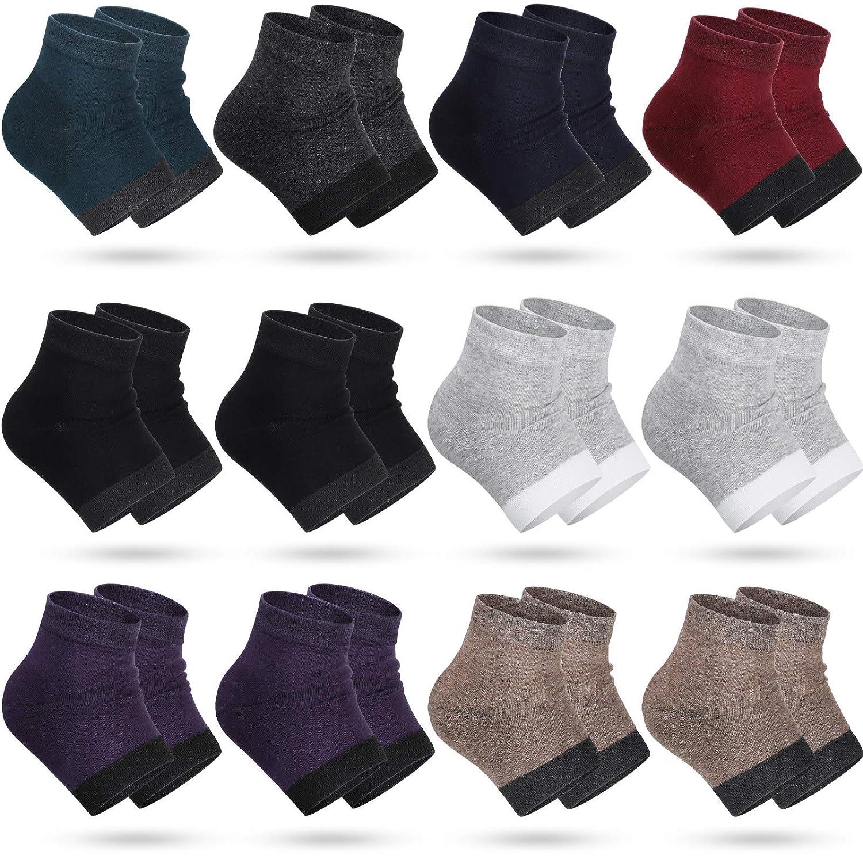 12 Pairs Heel Moisturizing Socks Open Toe Socks Cracked Gel Heel Socks Foot Toeless Heel Repair Socks for Women Girls Dry Hard Cracked Feet, 8 Colors