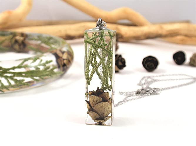 Floral Necklace with Real Pine cone and greenery, Botanical Jewelry Plant Pendant birthday gift Terrarium Woodland pendant
